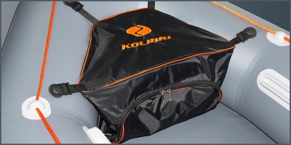Носовая сумка для лодки ПВХ Kolibri К-250Т, К-270T, K-290T с комплектом креплений черная