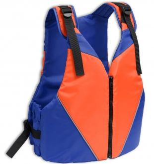 Жилет страховочный в лодку Колибри 70-90 кг (оранжевый с синим)