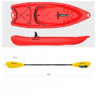 Пластиковый каяк SeaFlo SF-2002-RD, каяк корпусный 1 местный, красный каяк