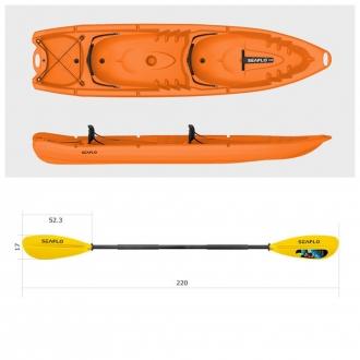 Пластиковый каяк SeaFlo SF-4001-OR, каяк корпусный 2 - х местный, оранжевый каяк Сифло 2 х местный