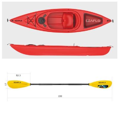 Пластиковый каяк SeaFlo SF-1004-RD, каяк корпусный 1 местный, красный каяк одноместный