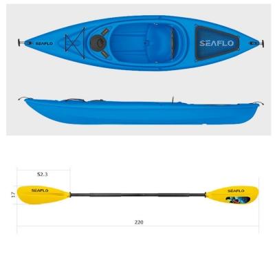 Пластиковый каяк SeaFlo SF-1004-BL, каяк корпусный 1 местный, синий каяк одноместный