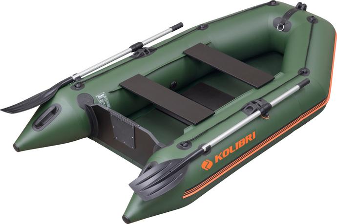 Надувная лодка Колибри КМ-280 светло-серая, слань-книжка