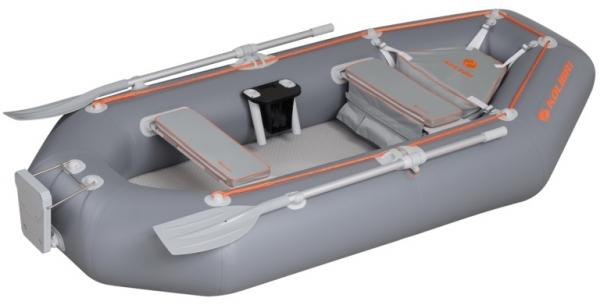 Надувная лодка Колибри К-300СT трехместная с настилом air-deck темно-серая