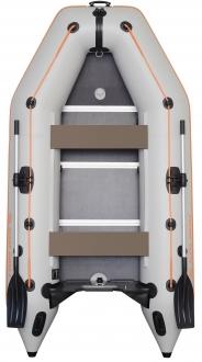 Надувная моторная килевая лодка Колибри КМ-300D трехместная c фанерным пайолом