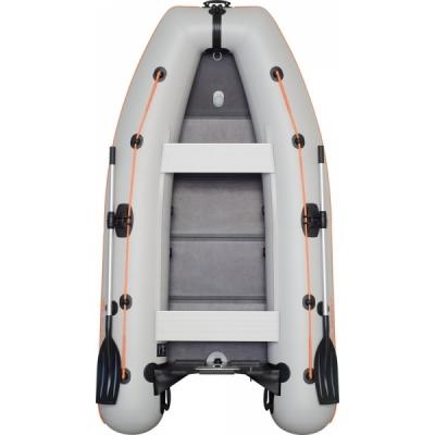Надувная моторная килевая лодка Колибри КМ-300DL светло-серая, слань-книжка
