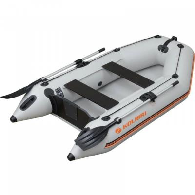 Надувная лодка Колибри КМ-260 светло-серая, слань-книжка