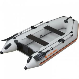 Надувная моторная килевая лодка Колибри КМ-280 светло-серая, Airdeck