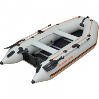 Надувная моторная килевая лодка Колибри КМ-300D светло-серая, настил из алюминия