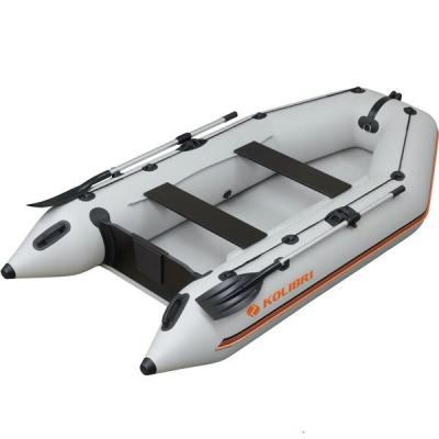 Моторная надувная лодка Колибри КМ-330 светло-серая, без настила