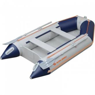 Надувная моторная килевая лодка Колибри КМ-300D светло-серая, настил из фанеры