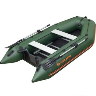 Моторная килевая лодка Колибри КМ-300D зеленая, настил из фанеры