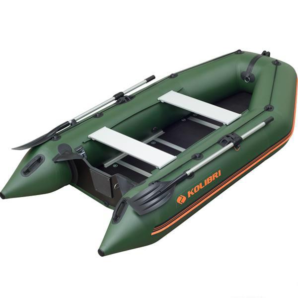 Килевая моторная килевая лодка Колибри КМ-330D светло-серая, настил из фанеры