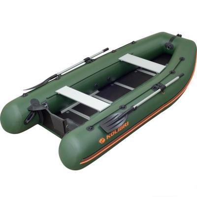 Надувная лодка Колибри КМ-330DSL зеленая, настил из фанеры