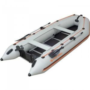Надувная лодка Колибри КМ-360D светло-серая, настил из фанеры