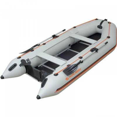 Надувная лодка Колибри КМ-360D светло-серая, настил из алюминия
