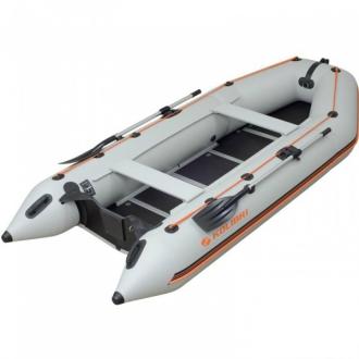 Надувная моторная килевая лодка Колибри КМ-360D светло-серая, настил из алюминия