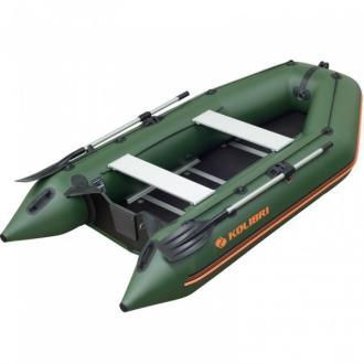 Надувная моторная килевая лодка Колибри КМ-360D зеленая, настил из фанеры