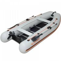 Надувная лодка Колибри КМ-360DSL светло-серая, настил из фанеры
