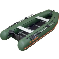 Надувная лодка Колибри КМ-360DSL зеленая, настил из фанеры