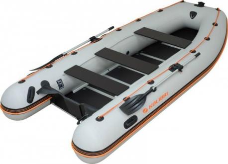 Надувная моторная килевая лодка Колибри КМ-450DSL светло-серая, настил из алюминия