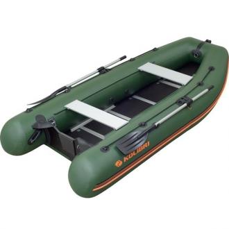 Надувная моторная килевая лодка Колибри КМ-450DSL зеленая, настил из алюминия