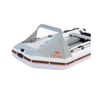 Носовой тент с прозрачным окном для лодок КМ-300DL, KM-330DL, КM-330DSL, KM-360DSL серый